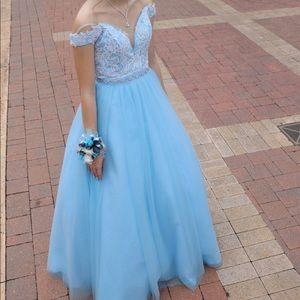 Cinderella blue ballgown prom dress